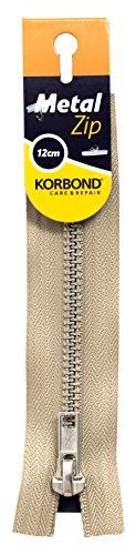 KORBOND Cremallera Cerrada de Metal Caqui – 12 cm/4.7 Pulgadas – Ideal para Costura, sastrería, Manualidades Cojines o Prendas de Vestir