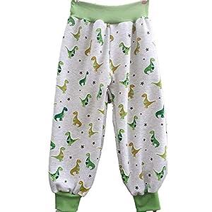 Baby Kinder Pumphose Mitwachshose Hose Handmade Dinos Winterbumwolle-Jersey