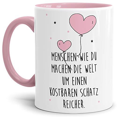 Tassendruck Liebes-Tasse zum Valentinstag mit Spruch Menschen wie du - Herz-Ballons/Partner/Paar/Schatz/Verliebt/Geschenk-Idee/Süß/Innen & Henkel Rosa