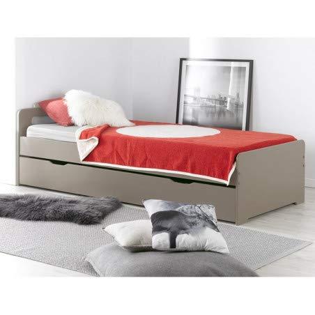 Alfred & Compagnie, uitschuifbaar bed, 90 x 200 cm, incl. 2 matrassen, linnen aèle