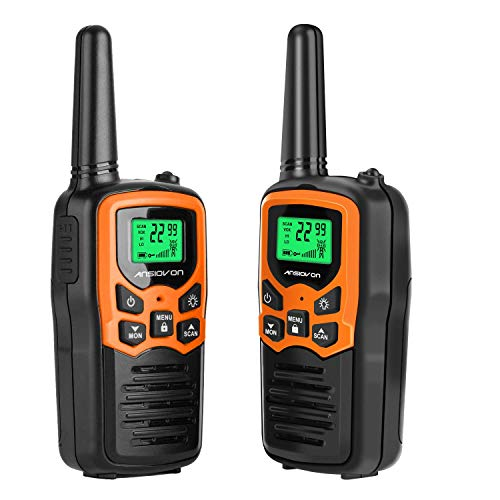 Walkie Talkies 2 Pack, ANSIOVON 22 Channel Long Range Walkie Talkies for Adults, Two Way Radio Outside Adventures, Camping, Hiking
