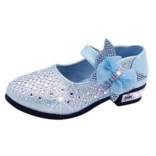 Babyschuhe Ballerinas Mädchen Schuhe Sommer Kommunionschuh Kinderschuhe Mädchen Schuhe Outdoor Prinzessin Schuhe Festliche Schuhe Lackschuhe Blumen Kinderschuhe LMMVP (Blau-C, 28/4,5-5 Jahre)