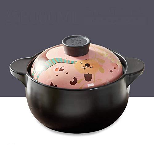 DGHJK Casseruola di Cartone Animato Pentola in Ceramica Pentola ad Alta Temperatura con Motivo Coperchio Adorabili pentole Giapponesi per zuppa di Riso Porridge -g 4l
