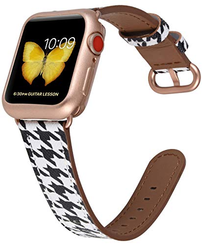 JSGJMY Compatible with Apple Watch Band 38mm 40mm with Case,Women Genuine Leather with Rose Gold Adapter and Buckle for iwatch Series 5/4/3/2/1, Houndstooth Printed