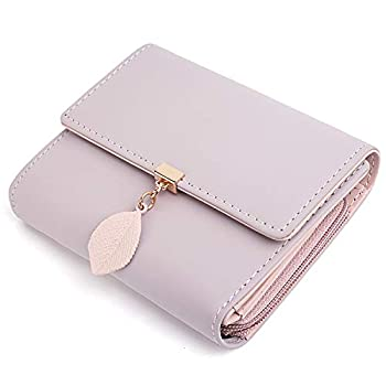 UTO Small Wallet for Women PU Leather Leaf Pendant Card Holder Organizer Zipper Coin Purse Pink