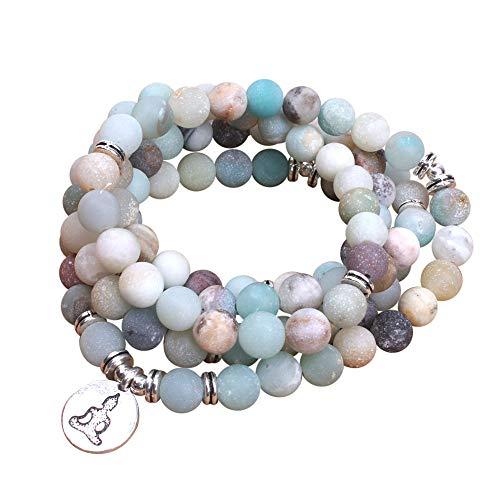 'SHANTI by Mira' Gemstone Jap Mala 108 Beads + 1 - Handmade Spiritual Protection Worry...