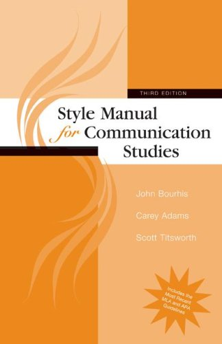 Compare Textbook Prices for Style Manual for Communication Studies 3 Edition ISBN 9780073385051 by Bourhis, John,Adams, Carey,Titsworth, Scott