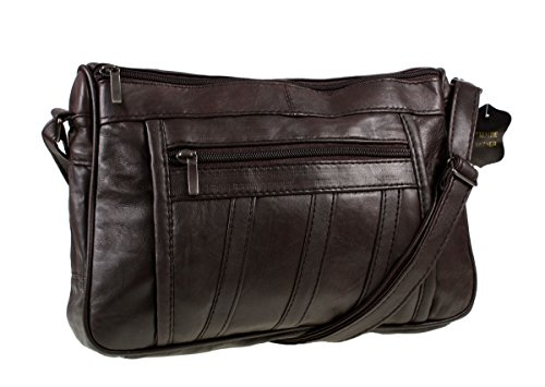Womens Super Soft Nappa Leather Shoulder Bag / Handbag with Two Main Zipped Compartments ( Brown )