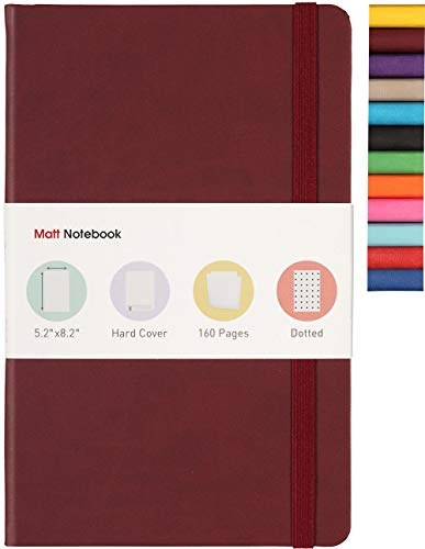 Matt Notebook   Klassisches Hardcover-Notizbuch zum Schreiben, Größe: 13'x 21', A5, gepunktete Seiten, 160 Seiten, Premium-PU-Leder, Innentasche, Qualitätspapier… (Kastanienbraun)