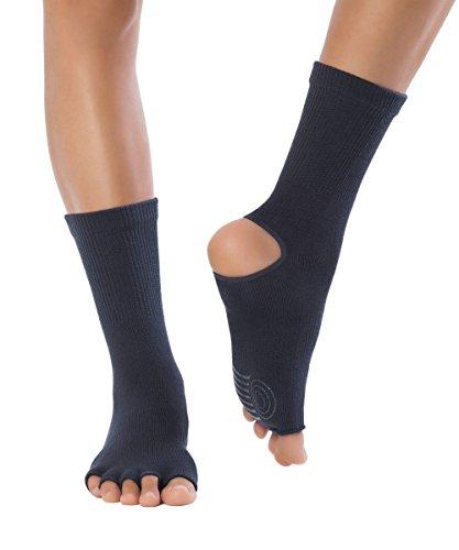 Knitido Yoga-Socken Yoga Flow, Rutschfeste Zehensocken für Yoga, Pilates und Tanz mit offenen Zehen und Grip, aus Baumwolle, für Damen und Herren, Größe:39-42, Farbe:Charcoal