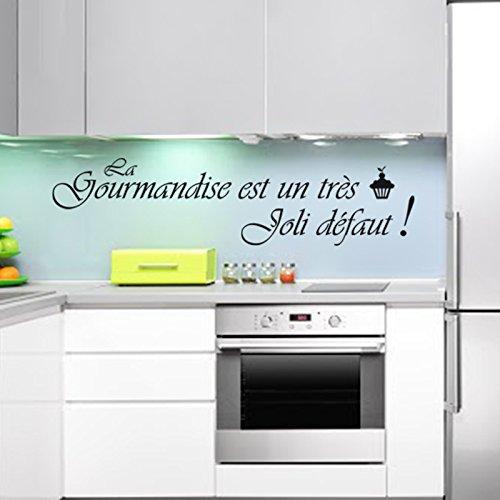Ambiance WTD - Adhesivo decorativo para pared, diseño de La gourmandise est un très joli defaut, color negro