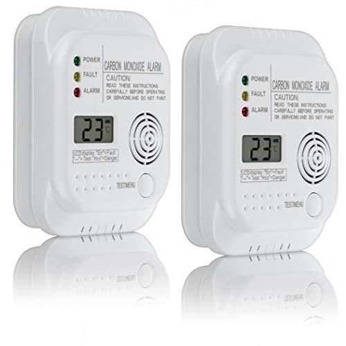 SEBSON 2X Detector monoxido de Carbono, EN 50291, Alimentado por baterías, CO Alarma, Detector de Gas con Pantalla e indicador de Temperatura