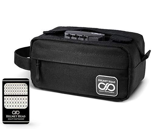 HELMET HEAD Kompakter, geruchsdichter Koffer mit Zahlenschloss + Schleifkarte | Wasserabweisender, kleiner, geruchsdichter Beutel für Kräuter + stinkendes Zubehör (schwarz)