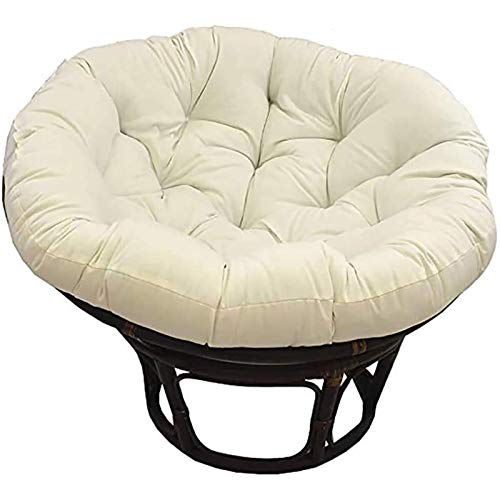 LQQ Papasan Round Chair Cushion Thicken Swing Hanging Basket Seat Cushion Patio Waterproof Chair Pad Soft Comfortable Egg Hammock Nest (Color : Milky, Size : 120x120cm/47x47inch)
