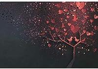 新しい2.1x1.5mVinylバレンタインデーの背景の背景写真パーティーのための抽象的な赤いハート手作りの木の鳥の背景