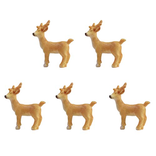 Hemoton 5 Piezas Figuras de Renos de Navidad Renos de Navidad en Miniatura Resina Elk Estatua Artesanía Regalos de Fiesta de Navidad Adorno de Decoración de Mesa (Caqui)