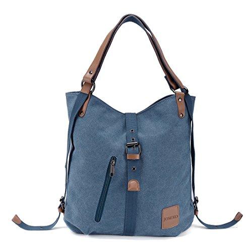 JOSEKO Canvas Tasche, Damen Rucksack Handtasche Vintage Umhängentasche Anti Diebstahl Hobotasche für Alltag Büro Schule Ausflug Einkauf(Blau)