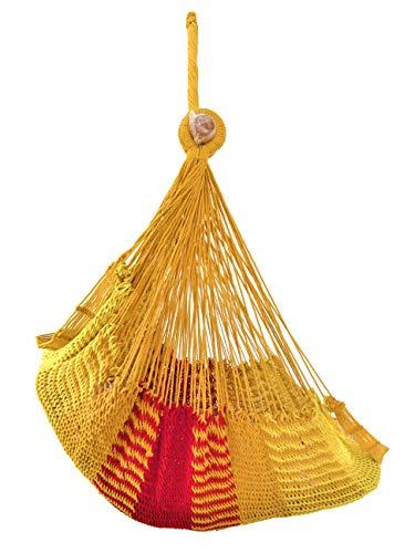 Hamac - Silla de algodón con red para hamaca colgante mexicano, fabricación 100 % artesanal, amarillo