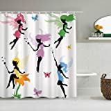 YiiHaanBuy Personalisierter Duschvorhang,Fantasy Pixie Spirit Elf Feen fliegen mit Schmetterlingen Mädchen Prinzessin Blumen,wasserabweisender Badvorhang für das Badezimmer 180 x 210cm