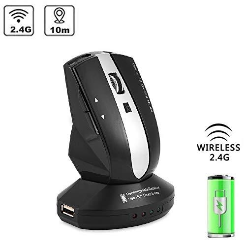 Draadloze muis, 2,4 GHz oplaadbare draadloze optische muis, gamingmuizen met laadstation, 3-poorts USB-hub, 800 - 1200 DPI instelbaar, plug & play (blauw)