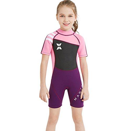 FMDD Kinder Eins Stück Neoprenanzug Kurze ärmel Tauchanzüge,Schwimmen, surfen, tauchen Anzug Nassanzüge 2.5mm Neopren Tauchanzüge Badeanzug (Rosa, S)