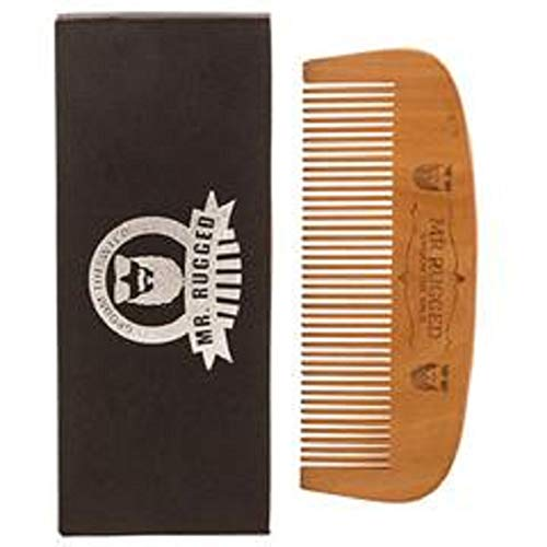 Mr Rugged Wooden Beard Comb - One of a Kind Wood Beard Comb Handmade from Pear Wood - Brushes...