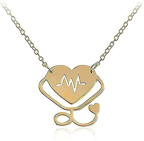 Yiffshunl Collar con Colgante Estetoscopio combinación de Colgante corazón Latido jeringa Amor Enfermera médica Regalos para Amantes Collar Regalos