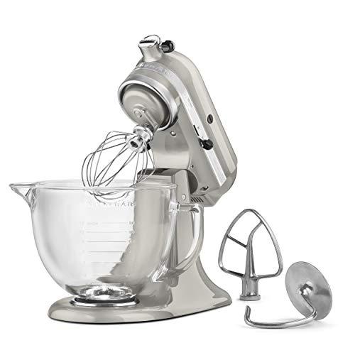 KitchenAid KSM155GBSR 5-Qt. Artisan Design Series with Glass Bowl - Sugar Pearl Silver