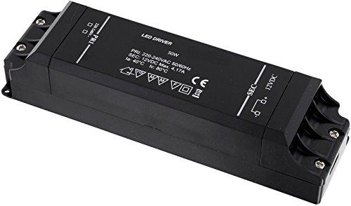 LED Slim Transformator 50W - 230V auf 12V - LED geeignet - Mindestlast 1W max. 50W 4,17A - Black-Design