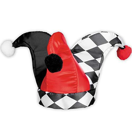 Amakando Original Sombrero de arlequín para Adulto / Talla de Sombrero 59 / Gorro de bufón para máscara de bufón / Ideal para Fiestas de Disfraces y Fiestas temáticas