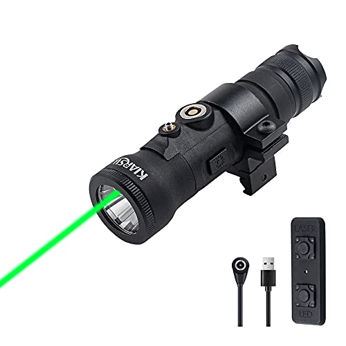 KIARSWE Green Laser Light Combo, Green Beam Tactical Flashlights for Rifle, 600 Lumens Weapon Light with Pressure Switch, USB Magnetic Rechargeable Picatinny Flashlight Laser Combo