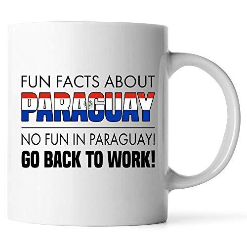N\A Tazas Personalizadas - Datos Divertidos sobre Paraguay No Hay diversión en Paraguay Vuelve al Trabajo - Regalo para Amigo Compañero de Trabajo Taza de café con Leche