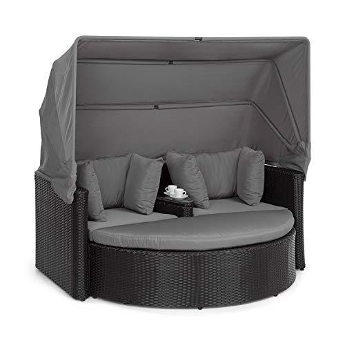 blumfeldt Heartland - 2 Sitzer-Lounge-Sofa mit integriertem Kaffeetisch, Loveseat Gartenliege, Stahlrahmen mit Polyrattan in Weidenflecht-Optik, Zustell-Hocker, extra Kissen, grau