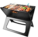 Portable Charcoal Grill, Moclever Space-saving & Foldable BBQ Barbecue Grill, Large Grilling Surface and Capacity Grill for Camping, Travel, Garden, Outdoor