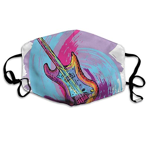 Illustration of Electric Guitar Artistic Modern Musical Festive Unisex Windproof and Dustproof Mouth Mask,Face Cover with Adjustable Elastic Strap
