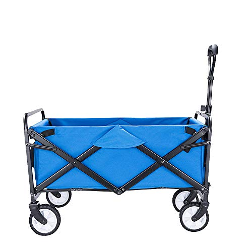 CHHBOXCHH Handwagen Kinder Sand/Handwagen Garten/Bollerwagen Faltbar Strand Spielzeug Kindertransport Supermarkt,Blue-S