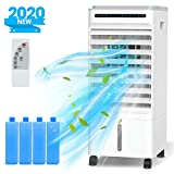 Nobebird Air Cooler, 4 in 1 Mobile Evaporative Air Conditioner Purifying Humidifier Fan with 4 Wheels, 5L Water Tank, 3 Speeds, Timer, Remote Control for Home Office