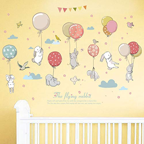Ballon van de cartoon Rabbit Combinatie Pattern Wandsticker Creative Kids Slaapkamer van kinderen Verwijderbare Decor Wall Sticker