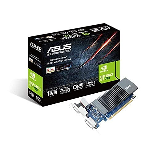 ASUS Nvidia GeForce GT710-SL-1GD5 Grafikkarte (1GB DDR5 Speicher, 0db Kühlung, 1x VGA, 1x DVI, 1x HDMI)