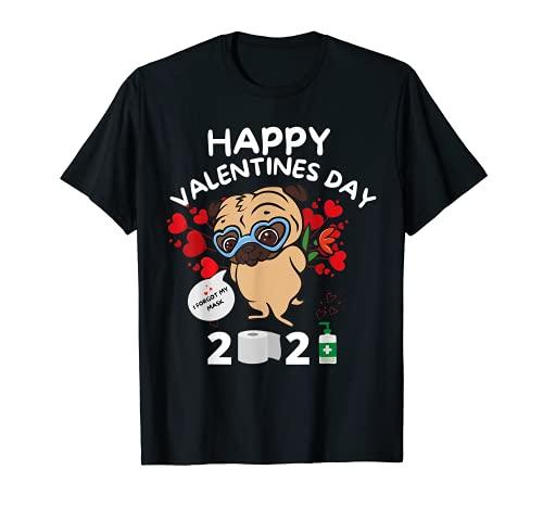 Cuore di carlino dimenticato maschera viso felice San Valentino 2021 donne Maglietta