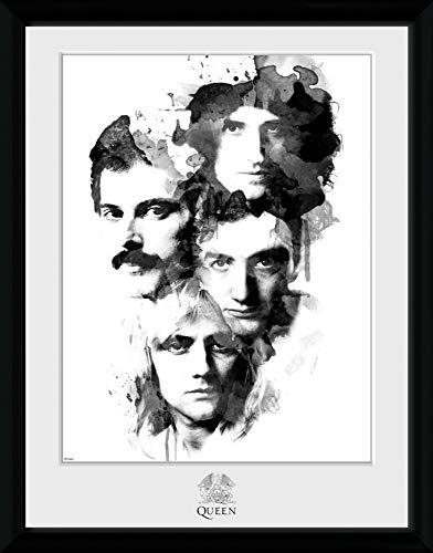1art1 Queen - Freddie Mercury Brian May Roger Taylor John Deacon Portraits Gerahmtes Bild Mit Edlem Passepartout | Wand-Bilder | Kunstdruck Poster Im Bilderrahmen 40 x 30 cm