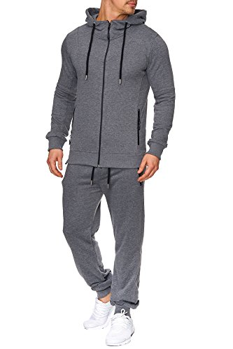 Tazzio Herren Sportanzug Jogginganzug Trainingsanzug Sporthose&Hoodie 17203 Anthrazit S
