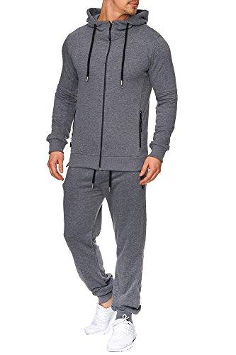 Tazzio Herren Sportanzug Jogginganzug Trainingsanzug Sporthose&Hoodie 17203 Anthrazit L