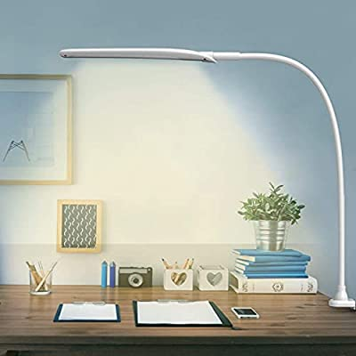 LED Desk Lamp with Clamp,Flexible Gooseneck Clamp Lamp,Dimmable,Touch Control 3 Color Modes,Eye-Care Table Light with Adjustable Arm,Architect Lamp for Home/ Office /Workbench/Reading Working White. by Hokone