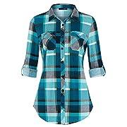 #LightningDeal DJT Shirts for Women, Women's Long Sleeve Collared Button Down Plaid Shirt Medium Narcissus