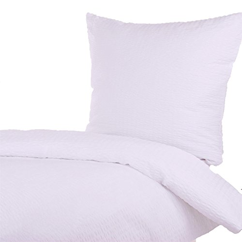 Hans-Textil-Shop Seersucker Bettwäsche 155x220 80x80 cm Weiß Baumwolle - Bügelfrei, Bettbezug, Mit Reißverschluss