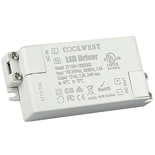 COOLWEST LED Trafo 12V DC 24W Transformator für G4, GU10, MR11, MR16 LED Lampen, Lichtstreifen