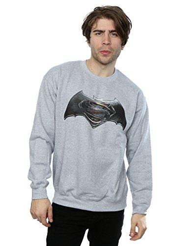 DC Comics Homme Batman v Superman Logo Sweat-Shirt Large Sport Gris