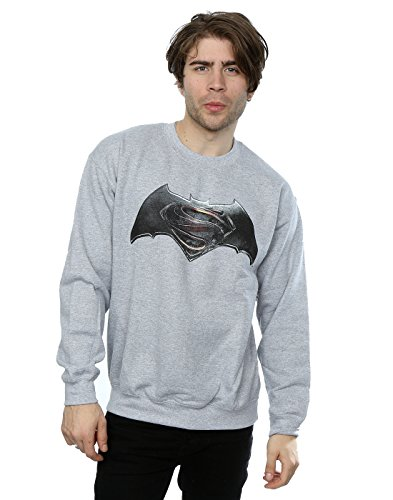 DC Comics Homme Batman v Superman Logo Sweat-Shirt Large Sport Gris