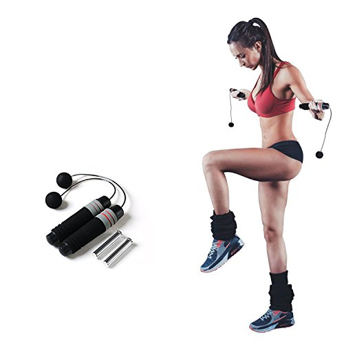 Ueasy Weighted Ropeless Jump Rope Length Adjustable Skipping Rope Tangle Free No Fray No Hurt No Tripping for You and Your Children (Cordless Jump Rope with 170g Weighted)